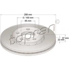 Jeu de 2 disques de frein train avant 5x100 256mm
