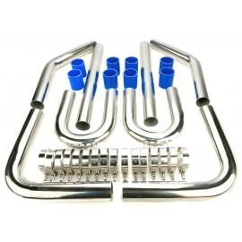 """Kit tubulure suralimentation intercooler durite bleu diamètre 57MM (2.25 """") avec collier renforcé"""