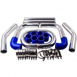 """Kit tubulure suralimentation intercooler durite bleu diamètre 63MM (2.5 """") avec colliers renforcés"""